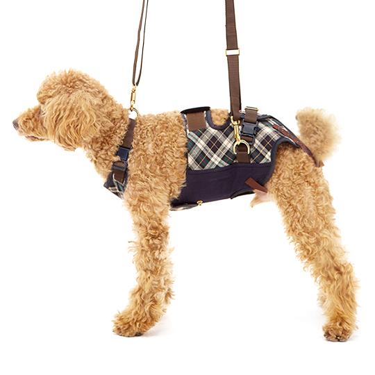 歩行補助ハーネスLaLaWalk小型犬・ダックス用 スクール(緑チェック)[緑チェック×ネイビー]