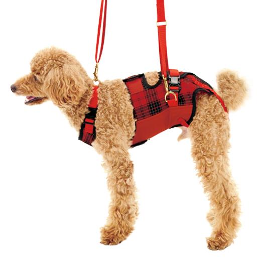歩行補助ハーネスLaLaWalk小型犬・ダックス用 赤チェック[赤チェック×オレンジ×黒]
