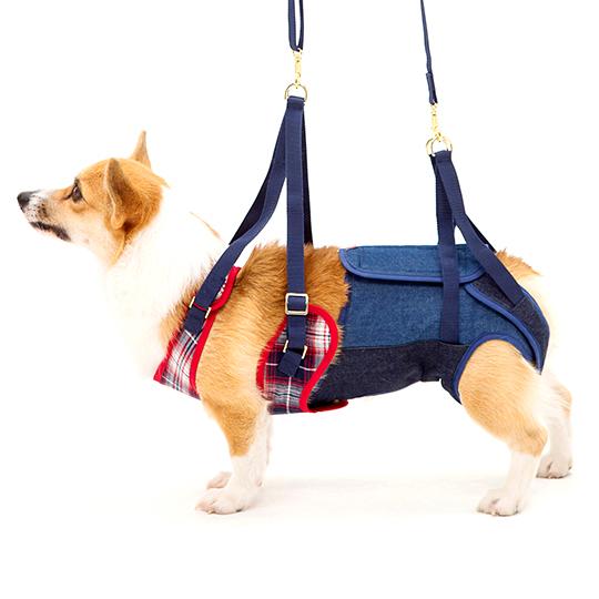 歩行補助ハーネスLaLaWalk中型犬・コーギー用 ネルシャツデニム[赤×紺×白]