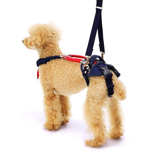 歩行補助ハーネスLaLaWalkホールド小型犬用 チェックカーニバル[チェック(紺×赤)]